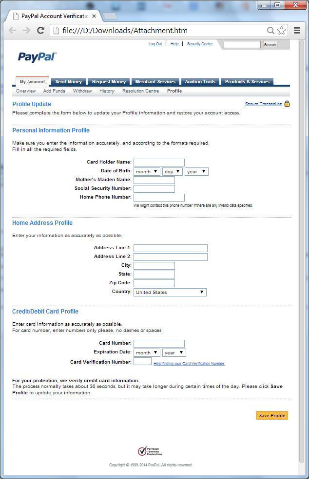 Một chiến dịch HTML Phishing mạo danh Paypal