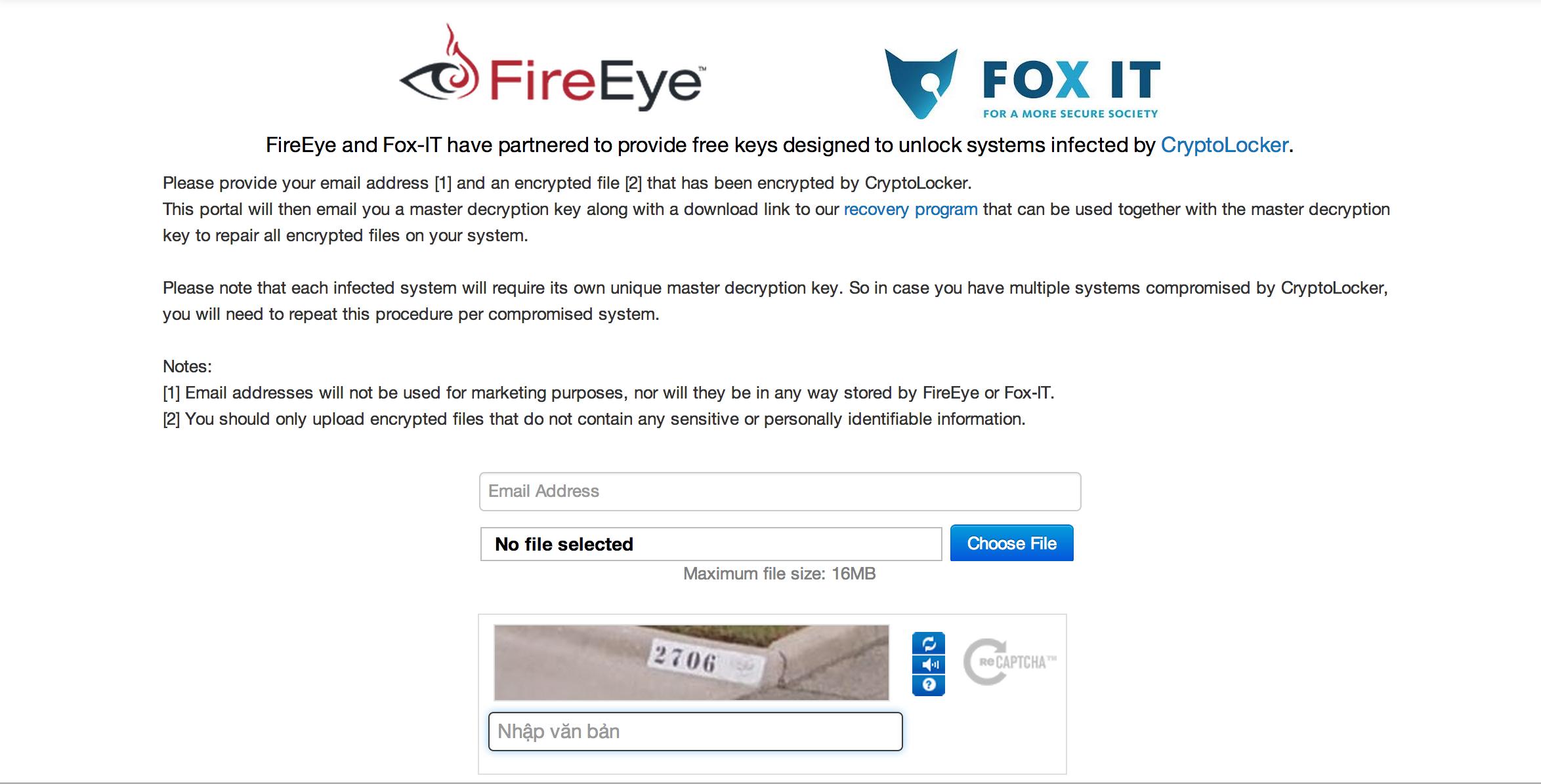 Ra mắt công cụ giải mã mã độc đòi tiền chuộc CryptoLocker miễn phí