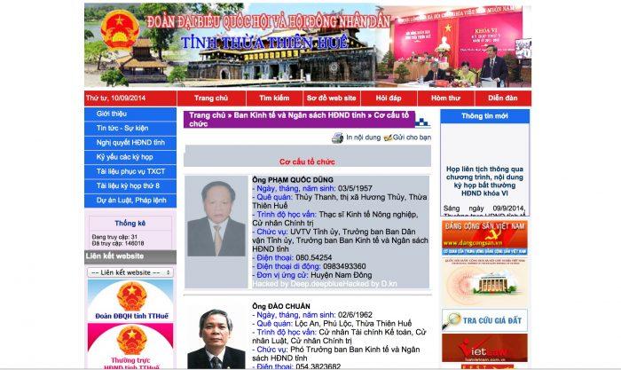 Cảnh báo website hội đồng nhân dân tỉnh Thừa Thiên Huế bị tấn công