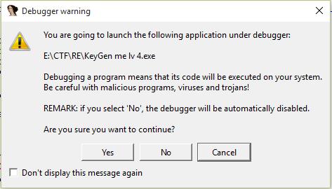 debugger warning