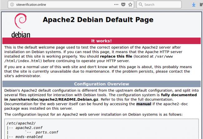 Trang mặc định Apache2 Debian trong iframe