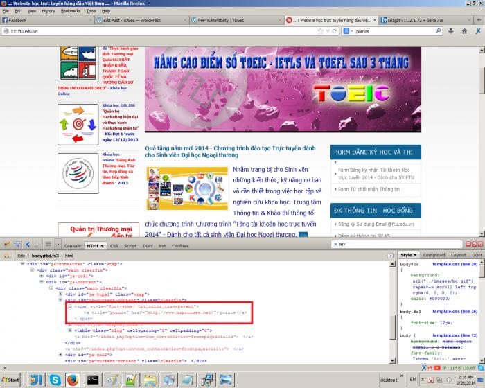 Website đại học Ngoại thương bị hack